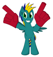Commission: Astro Brony's Foam Fingers by TertonDA