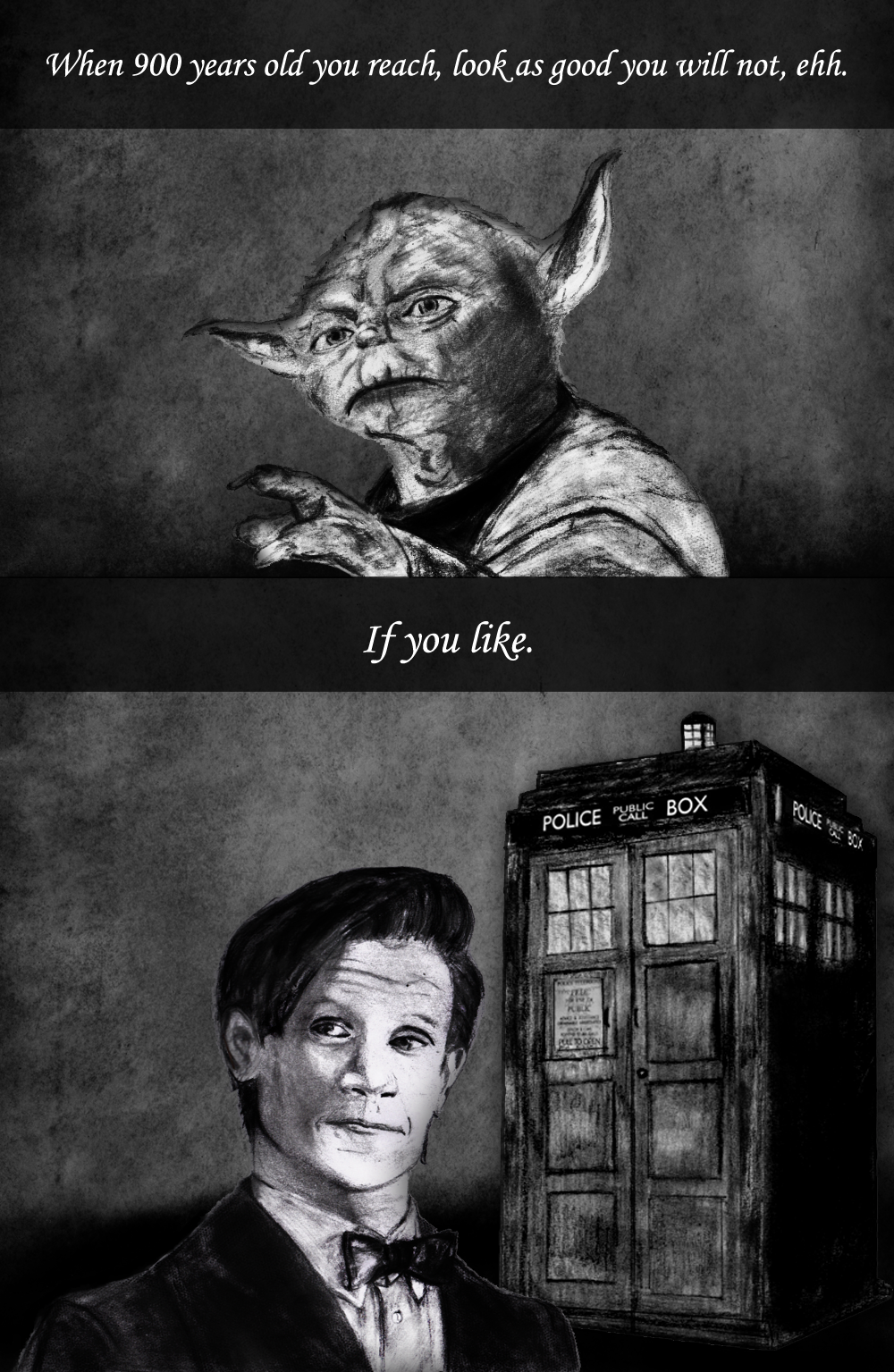 Yoda And Doctor Who Pencil Drawings With Quotes By Dragonrose1986