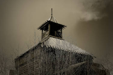 Old wooden fort tower in Yakutsk