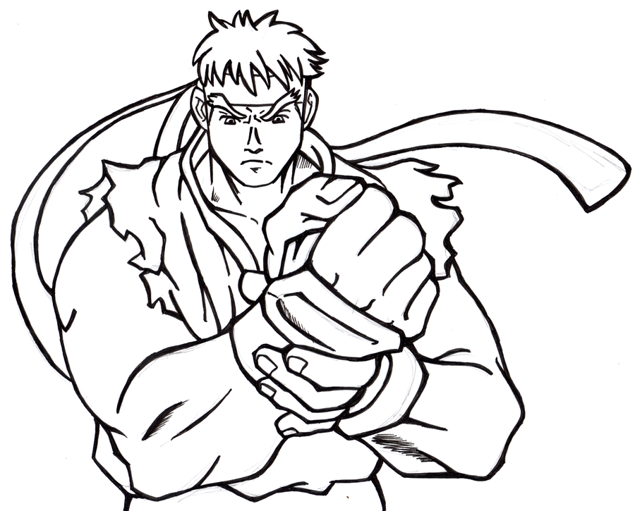 Street fighter alpha e ryu wip by grannyandstu on deviantart for Ryu coloring pages