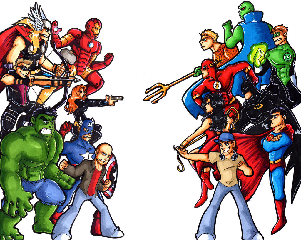 the avengers vs justice league by grannyandstu