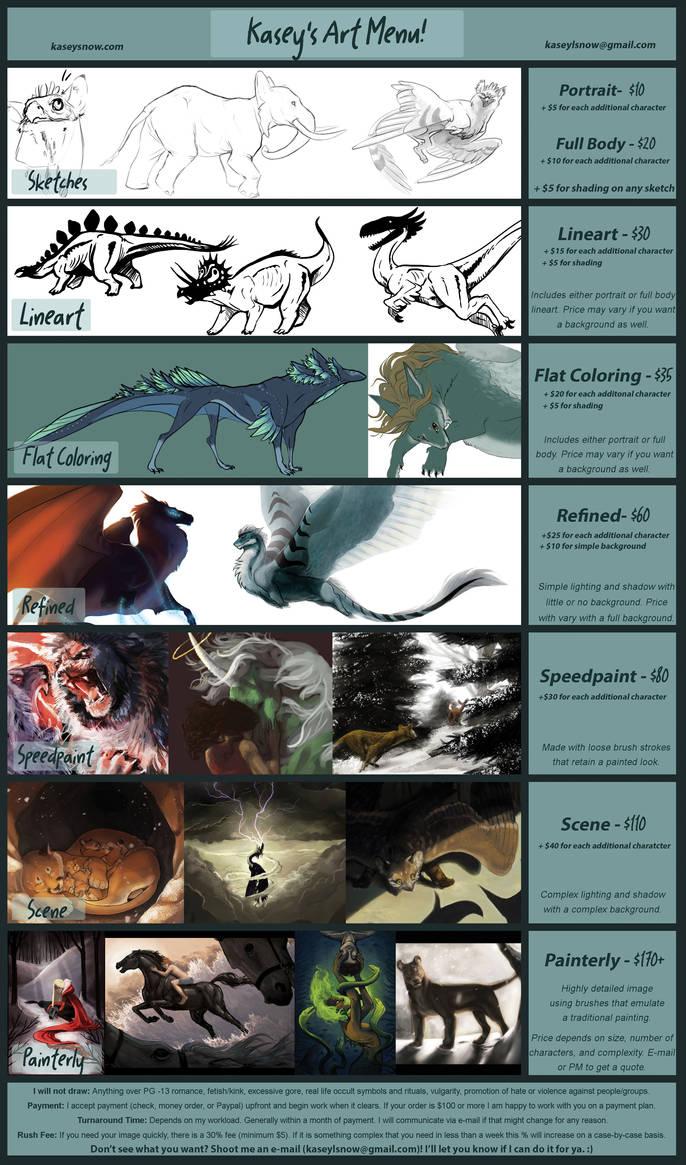 Commission Rate Sheet: Aka 'Kasey's Art Menu!' by kaseylsnow