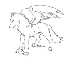 Wolf Lineart by LifesATease