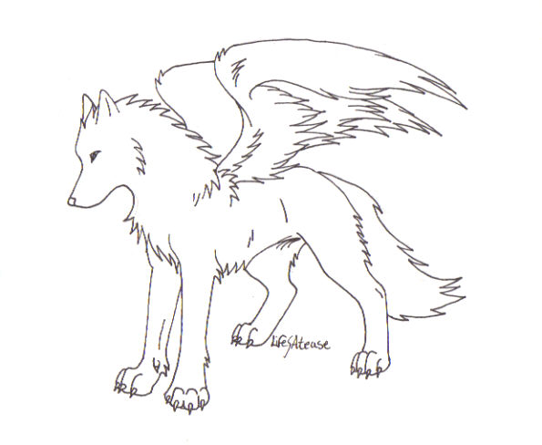 Simple Wolf Lineart : Wolf lineart by lifesatease on deviantart