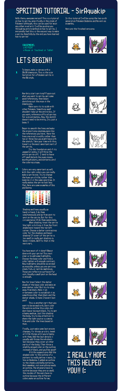 Spriting Tutorial - SirAquakip by SirAquakip
