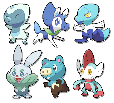 a bunch of water starters by SirAquakip