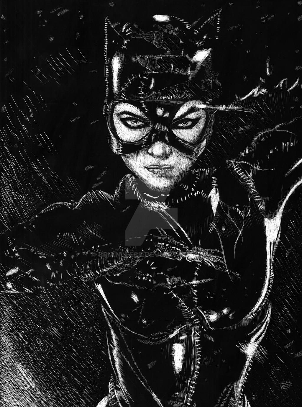 Michelle Pfeiffer Catwoman Scratchboard by BrianLee88 on ...