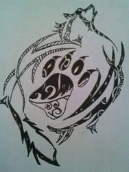 Tribal Wolf Designe by KeKitty