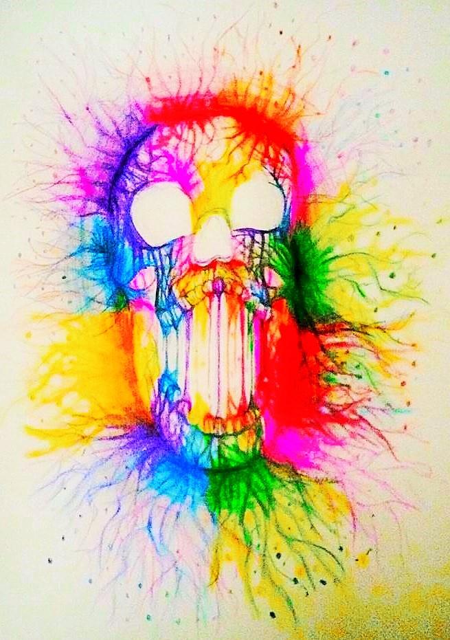 Rainbow Skull by TheSkullicorn