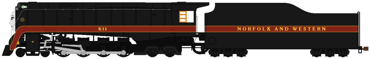 Norfolk and Western J 611 With Face