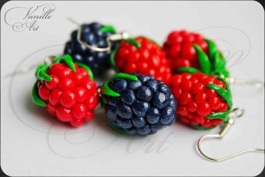 Blackberry and Raspberry Earrings
