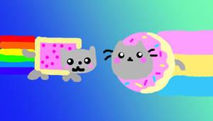 Nyan Cat and Donut Pusheen by puffugu
