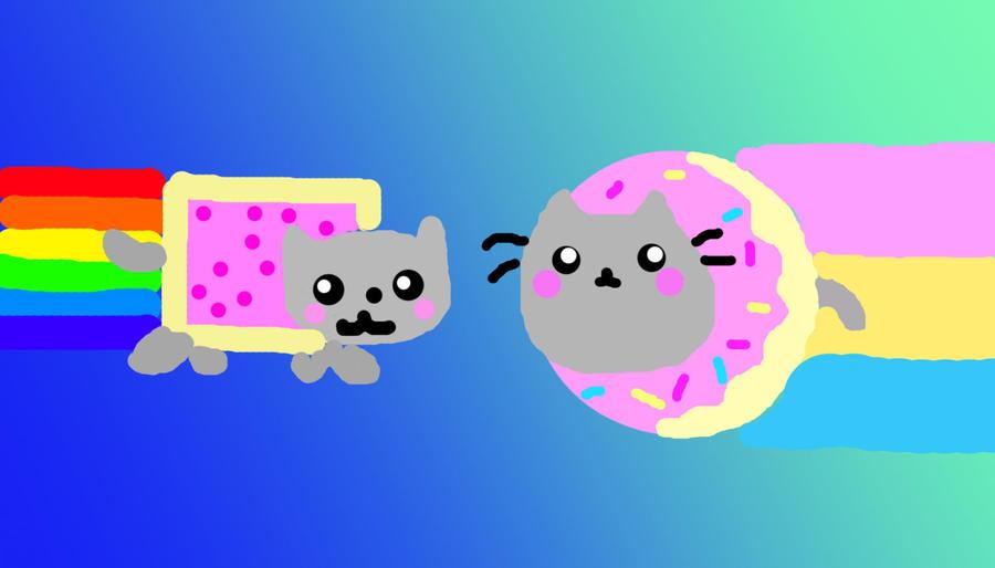 Pusheen Nyan Cat Nyan Cat And Donut Pusheen by