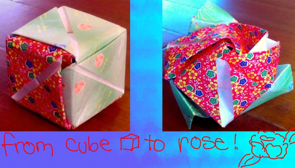origami magic rose cube by puffugu on deviantart