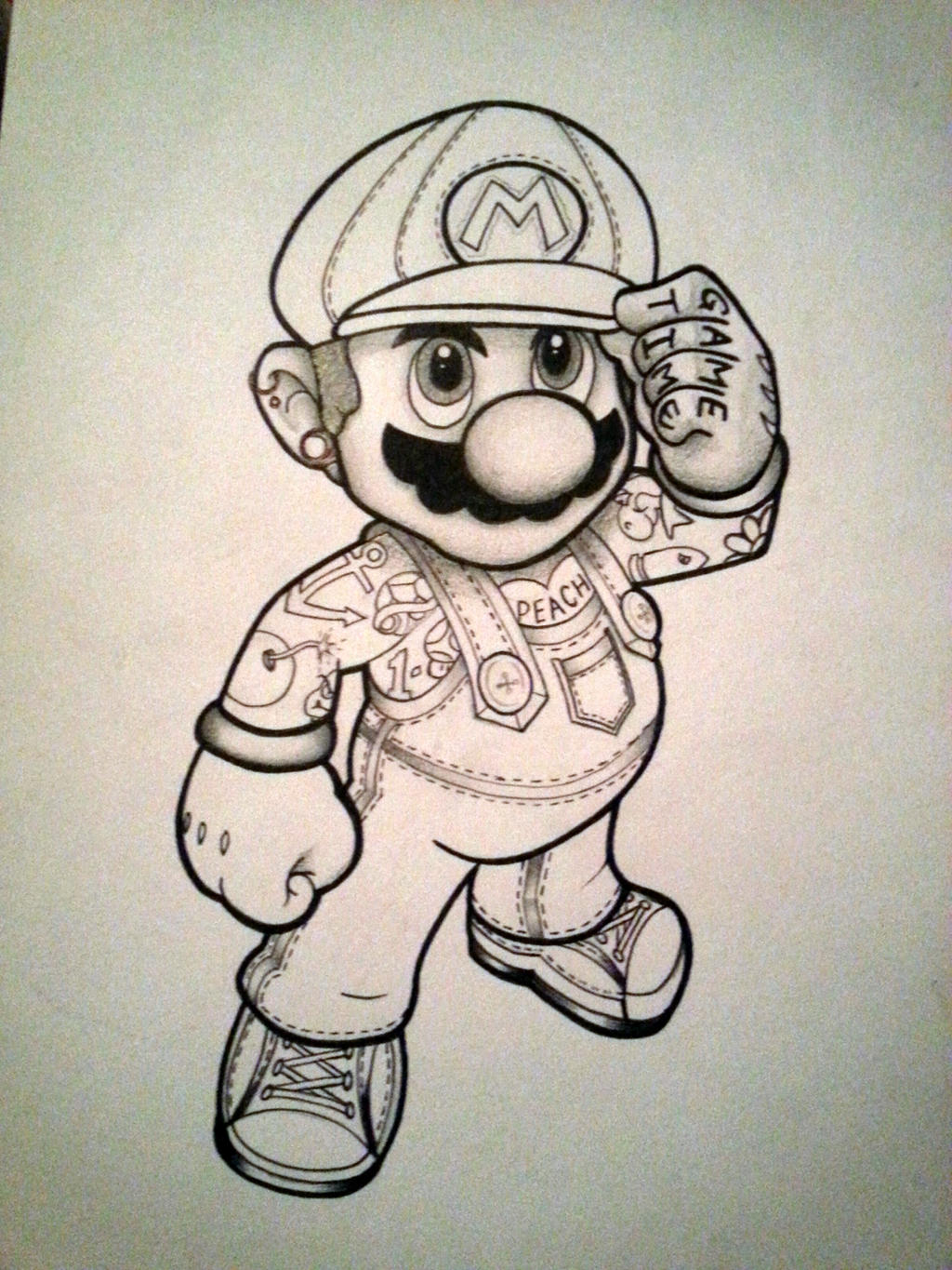 New school tattoo design - New School Mario By Yourfavoritelezbro New School Mario By Yourfavoritelezbro