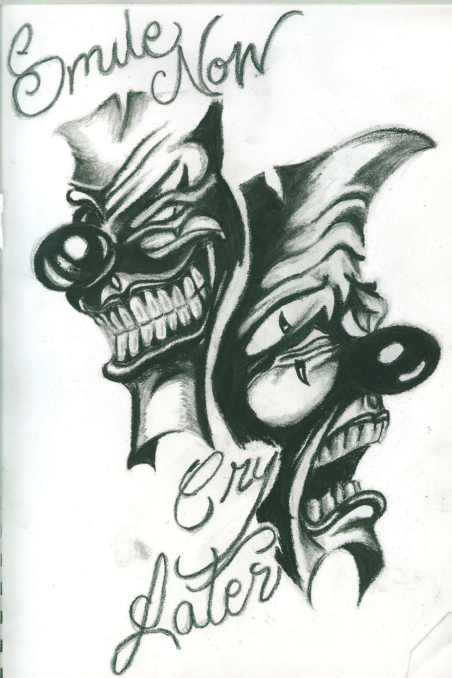 laugh now cry later clowns by incomplete00 traditional art drawings