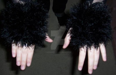 Fuzzy Fingerless Gloves by QueenNekoyasha