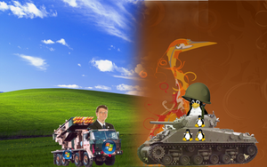 Linux VS. Windows BACKGROUND by wyatt8740