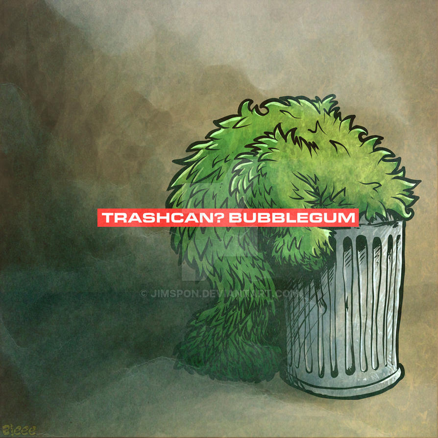 Trashcan, bubblegum by Bleee by jimspon