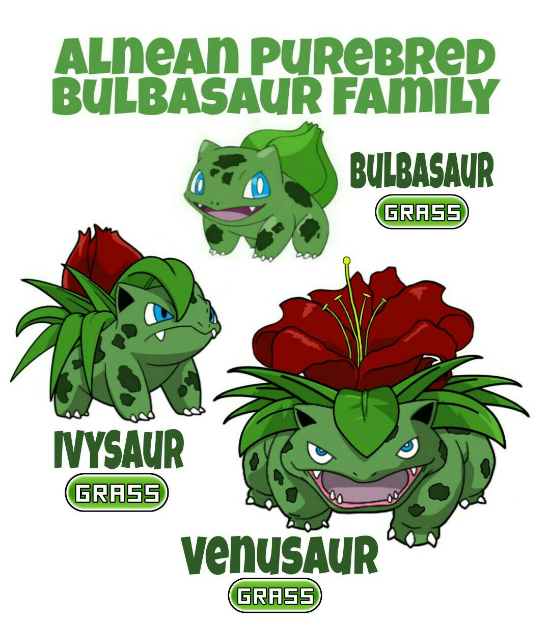 Bulbasaur Family by ajkent14z