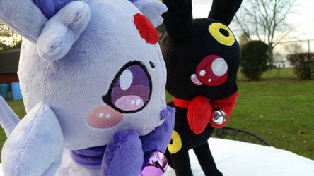 Espeon and Umbreon plushies! by PollyRockets