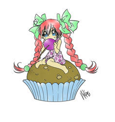 Cupcake - Colouring Attempt 3 by Nenyeh