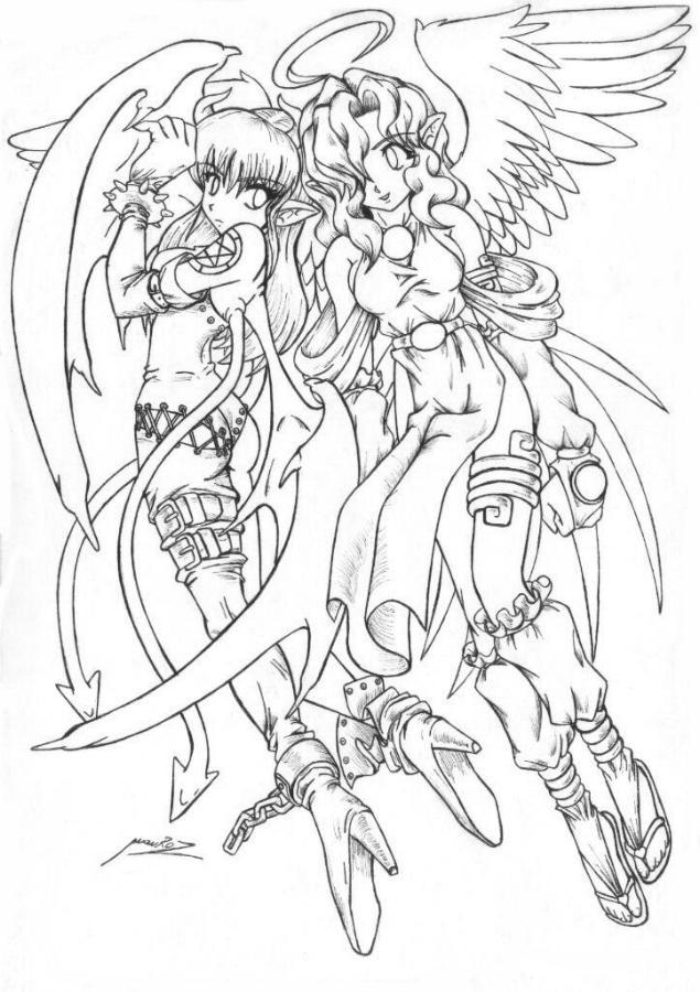 angel anime coloring pages - anime goddess coloring pages
