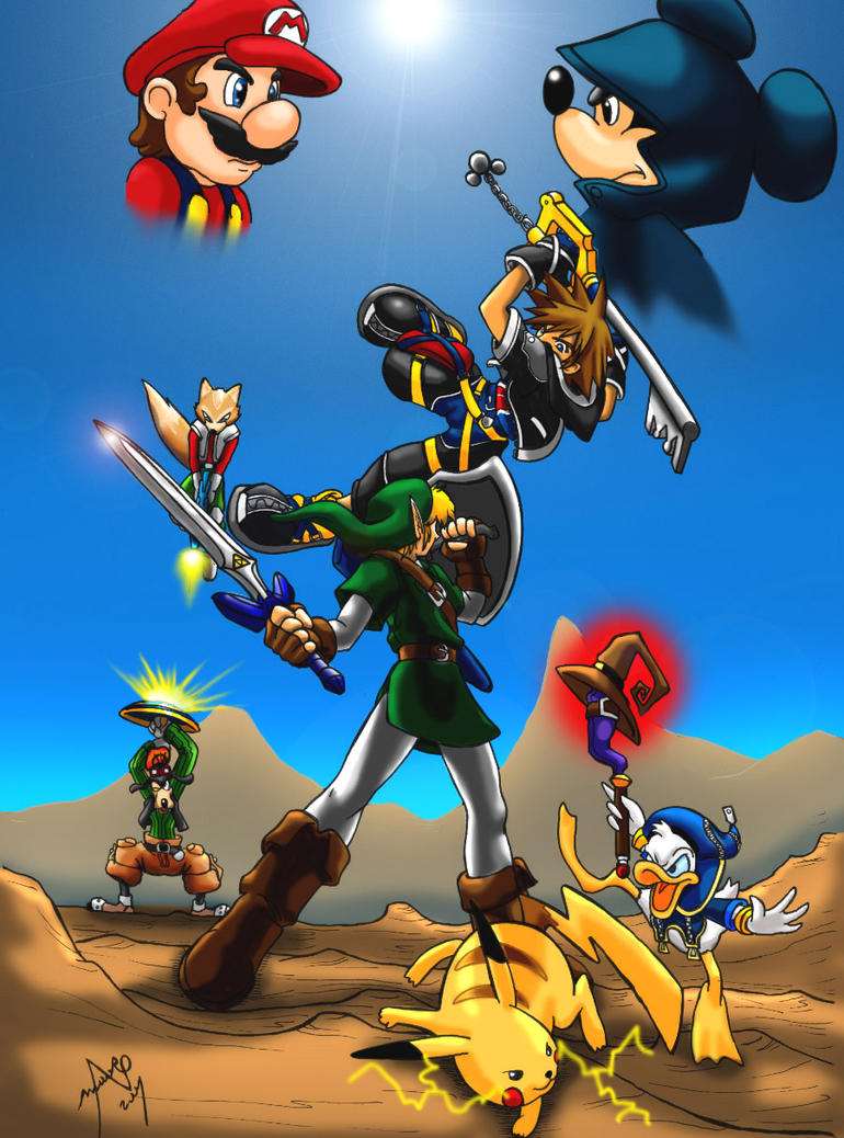 kingdom hearts VS smash bros by mauroz