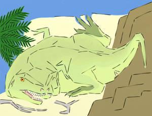 A Cubist Tyrannosaur Painted