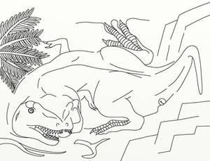 A Cubist Tyrannosaur Inked