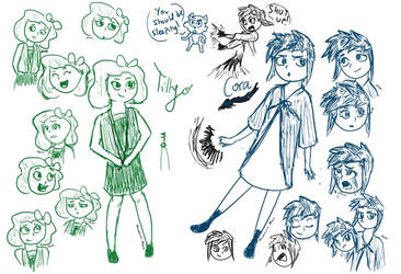 Tilly and Cora Sketches by MushroomMoon