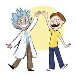 Tiny Rick And Morty by MushroomMoon