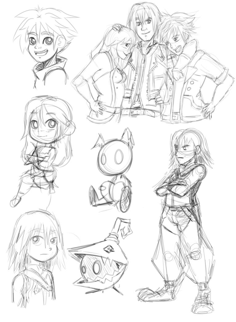 Kingdom Heart Sketch Dump by KairiStrife90
