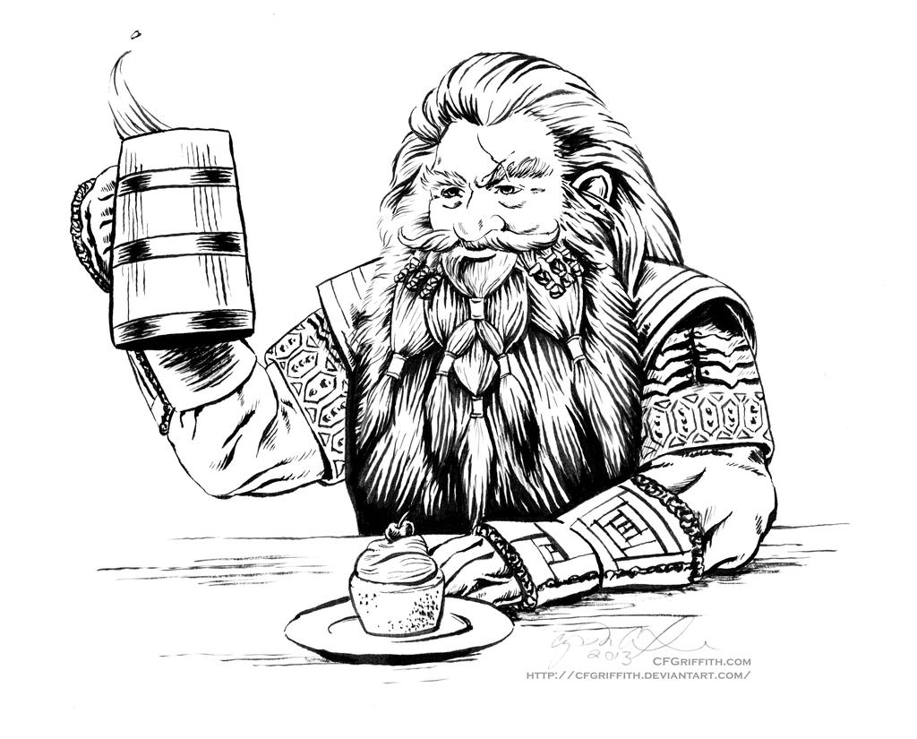 gloin the dwarf with ale and a cupcake by cfgriffith on deviantart