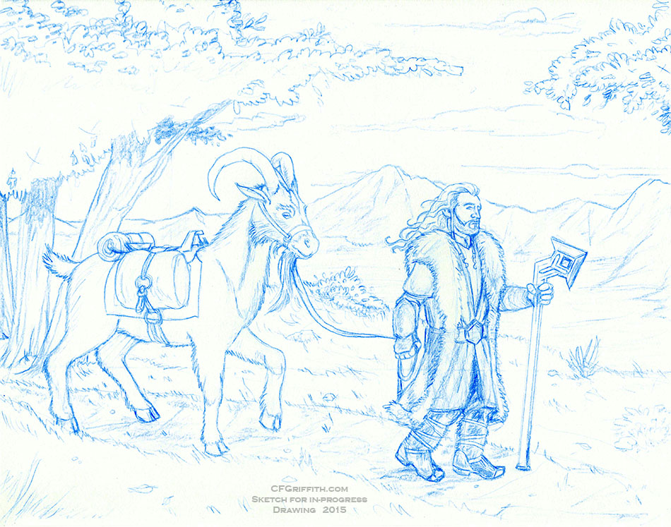 Thorin and Pack Goat Traveling 1 by cfgriffith