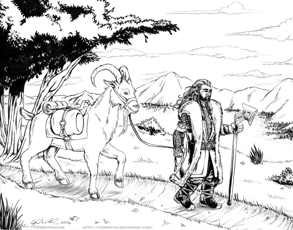 Thorin and Goat in Ered Luin by cfgriffith