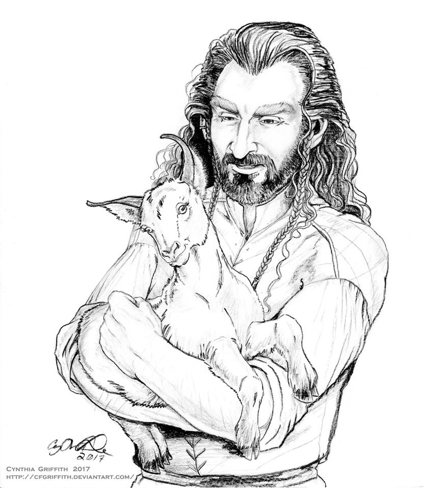 Thorin Holding Baby Goat by cfgriffith