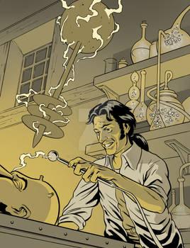 Victor Frankenstein working.