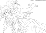 Gun Gale Online - Kirito And Sinon Lineart