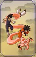 Goku, Vegeta, Buu by spokenillusion