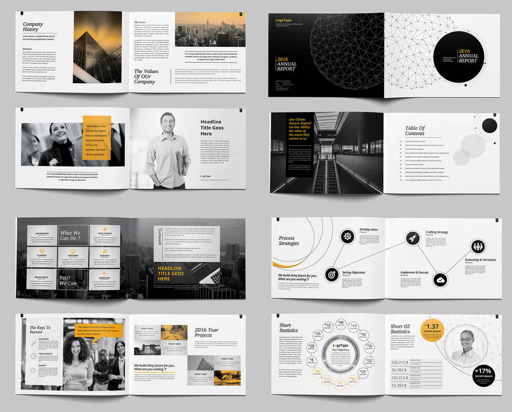 landscape annual report brochure template indesign by