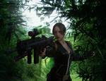 Lara Croft one-handed rifle