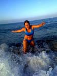 Lara Croft on the water