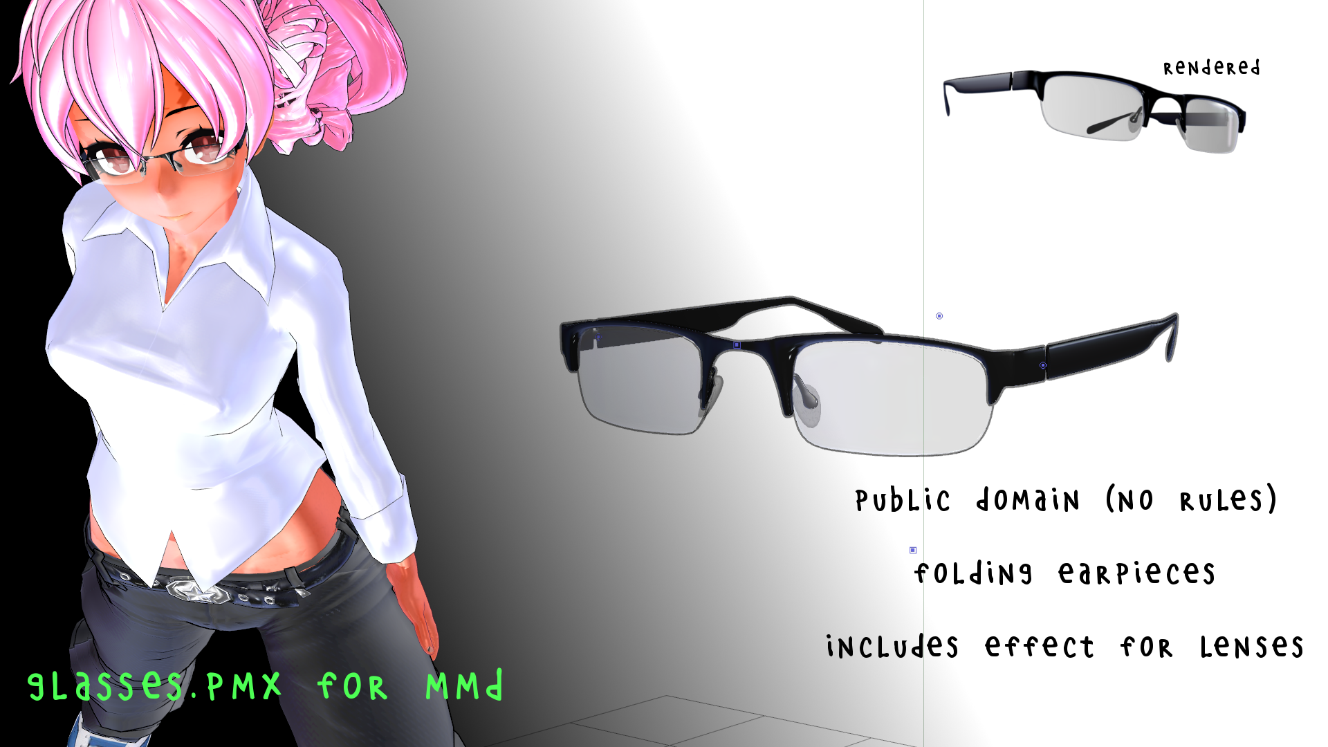 Glasses.pmx and Lens.fx for MMD
