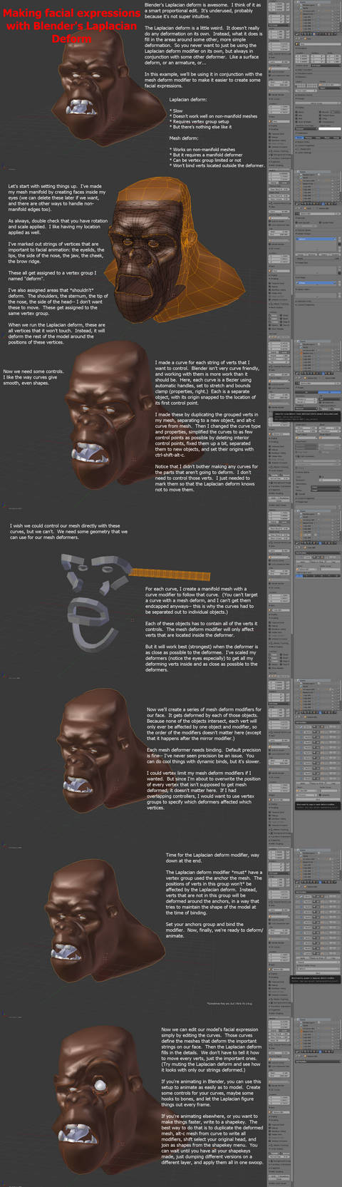 Making facials with Blender's Laplacian deform