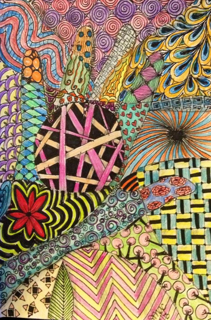 Zen doodle colour - Zen Doodle Attempt Color By Athnaluna2