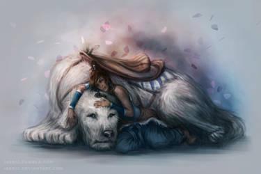 Korra and Naga by jasric