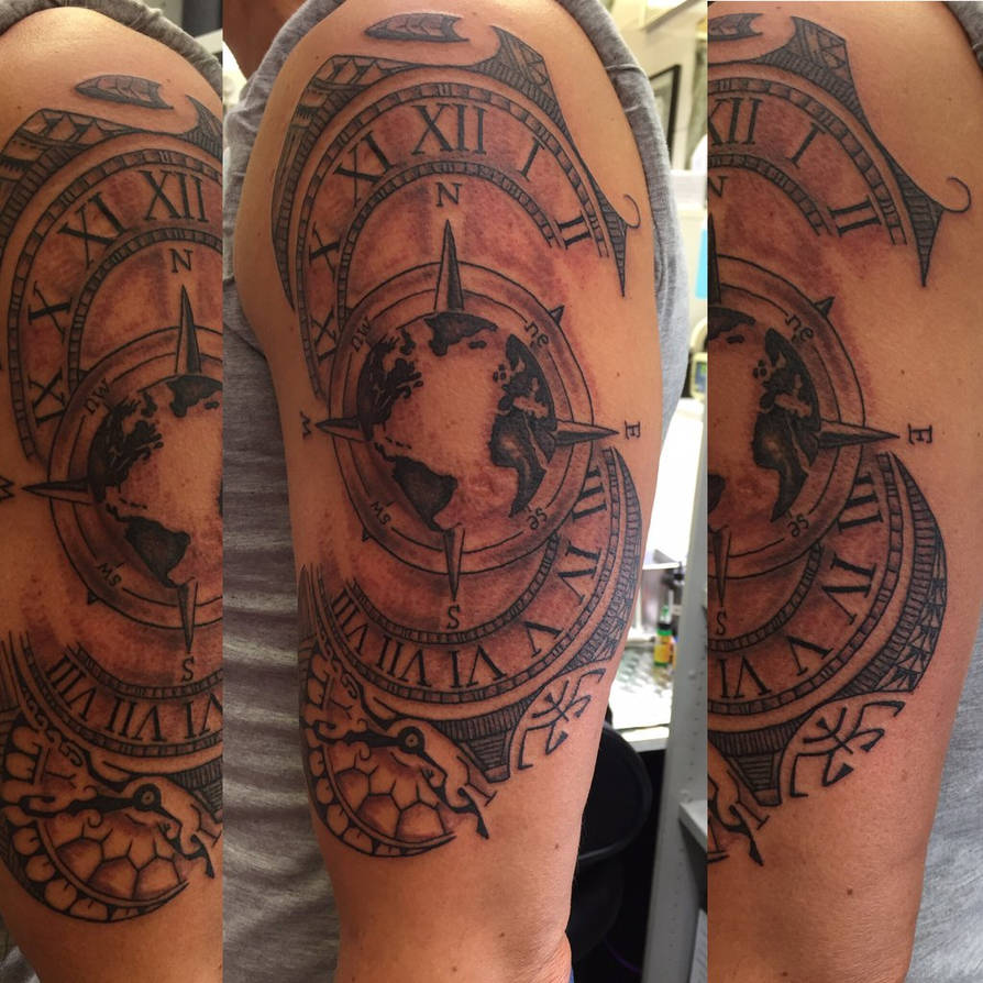 0c4747ef5 Tattoo Clock-Kompass-Maori combi by fortuna15 on DeviantArt