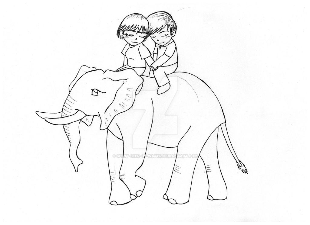 Line Art Couple : Commission couple on an elephant line art by spirit seer