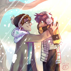 Moxiety but it's my AU and also snowing by KiwiGecko